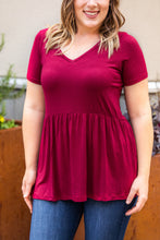 Load image into Gallery viewer, Classic Ruffle V-Neck - Burgundy