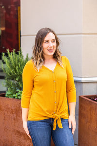 Henley Button Tie Top - Mustard
