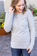 Load image into Gallery viewer, Harper Long Sleeve Henley - Grey with White Stripes