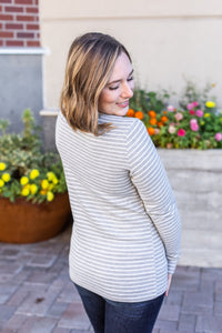 Harper Long Sleeve Henley - Grey with White Stripes