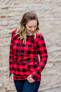 PREORDER Buffalo Plaid and Stripes Half Zip Hoodie