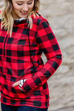 Load image into Gallery viewer, PREORDER Buffalo Plaid and Stripes Half Zip Hoodie