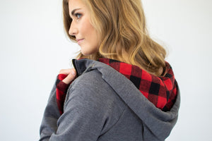 ***NEW CUT***Buffalo Plaid Single Hood Half Zip Hoodie