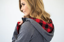 Load image into Gallery viewer, Buffalo Plaid Single Hood Half Zip Hoodie