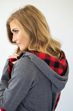Load image into Gallery viewer, ***NEW CUT***Buffalo Plaid Single Hood Half Zip Hoodie