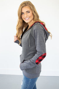Buffalo Plaid Single Hood Half Zip Hoodie