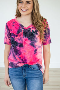 Slouchy Pocket Tee | Hot Pink Tie Dye
