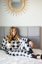 Load image into Gallery viewer, Black and White Buffalo Plaid Lounge Set