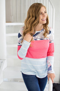 Wish You Were Here Color Block Top