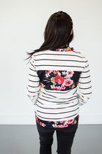Load image into Gallery viewer, Striped Floral Crew Neck
