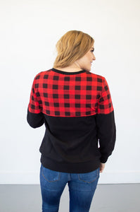 Buffalo Plaid Crew Neck | Nursing Option Available!