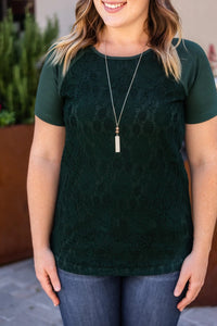 Lace Front Tee - Forest Green