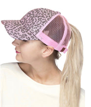 Load image into Gallery viewer, C.C Leopard Glitter Ponytail Hat- Multiple Colors