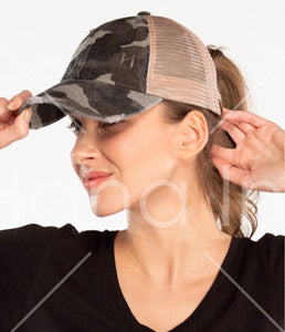 C.C Camo Distressed Ponytail Hat- Multiple Colors