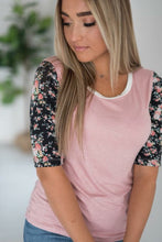 Load image into Gallery viewer, Pink Floral Baseball Tee