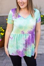 Load image into Gallery viewer, Classic Ruffle V-Neck - Purple & Mint Tie Dye