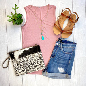 Henley Button Tank - Rose