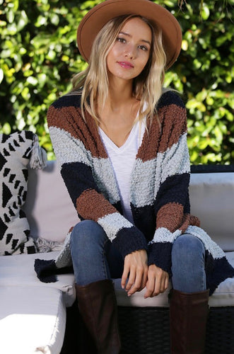 Mocha Striped Popcorn Cardigan