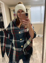 Load image into Gallery viewer, Button Plaid Shawl