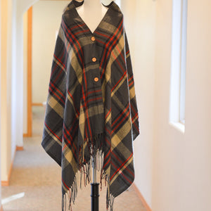 Button Plaid Shawl