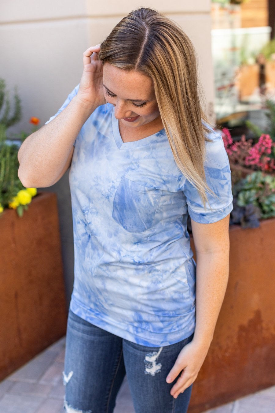 Sophie Classic Pocket Tee with V-Neck - Blue