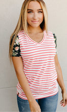 Load image into Gallery viewer, Lulu Tee- Coral Stripe & Floral Accent