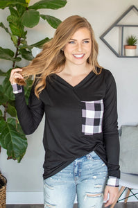 Buffalo Plaid Pocket Tee | Black and White Buffalo