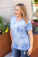 Load image into Gallery viewer, Sophie Classic Pocket Tee with V-Neck - Blue