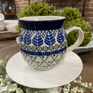 Blue Leaf Bubble Mug 16 oz.