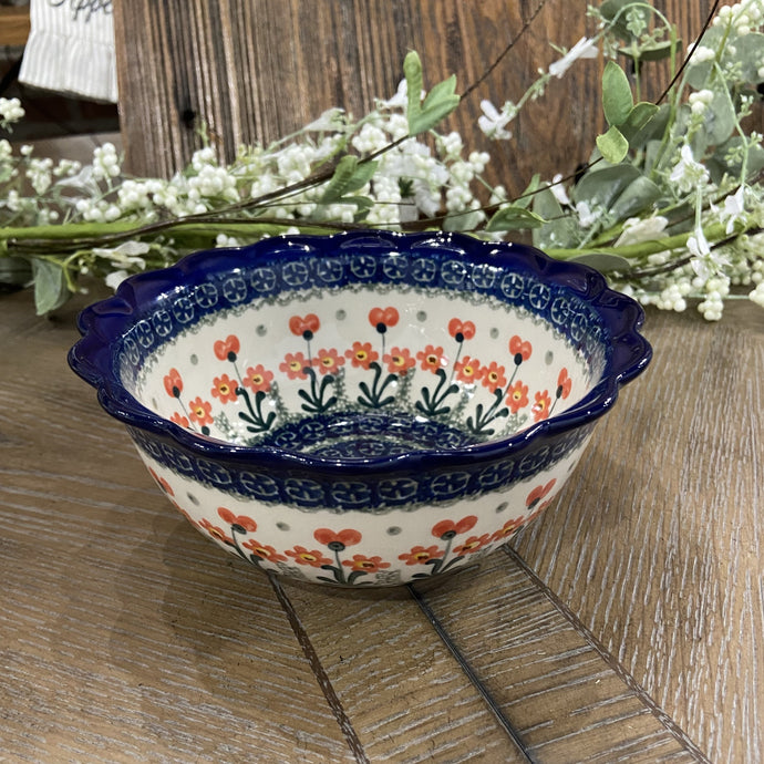 Red Poppies Scalloped Edge Bowl 7