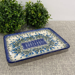 Blue Belle Rectangular Platter 9.5""