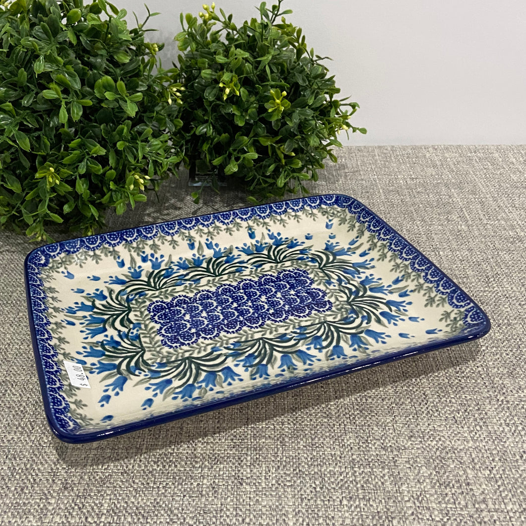 Blue Belle Rectangular Platter 9.5