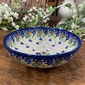 Purple Pansy Shallow Cereal Bowl 7""