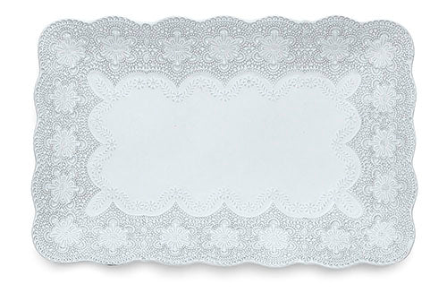 Merletto White Rectangular Tray
