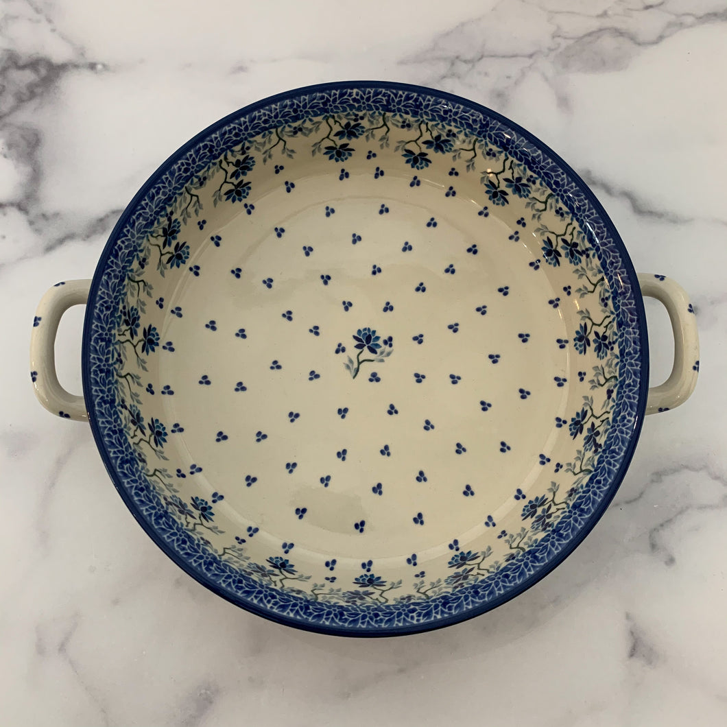 Bright Blue Round Baker with Handles 10