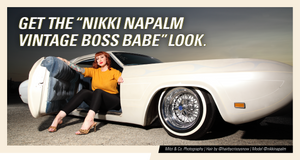 the Nikki Napalm boss babe look, Nikki on top of vintage car