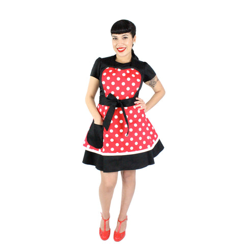 """Double Dipper"" Red and White Dot Apron"