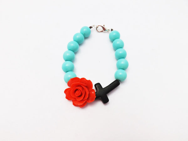 Aqua Beads Bracelet With Rose and Cross