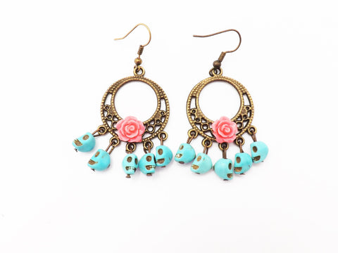 Products tagged mexican page 15 vintage galeria pink rose day of the dead turquoise skull chandelier earrings mozeypictures Images