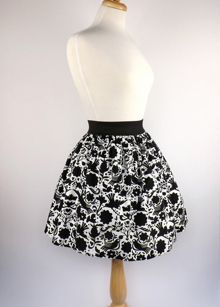 """Lindy"" Black and White Doves Skirt"