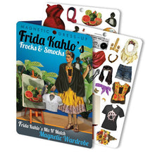 Load image into Gallery viewer, Frida's Frocks and Smocks Magnetic Dress up. A magnetic dress up set featuring some of Frida Kahlo's iconography plus other exciting outfits.