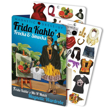 Frida's Frocks and Smocks Magnetic Dress up. A magnetic dress up set featuring some of Frida Kahlo's iconography plus other exciting outfits.