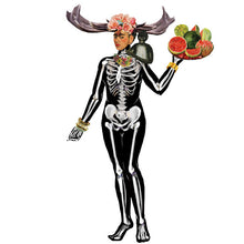 Load image into Gallery viewer, Frida's Frocks and Smocks Magnetic Dress up. Frida wearing a skeleton costume, holding a fruit basket, and wearing a flower crown.