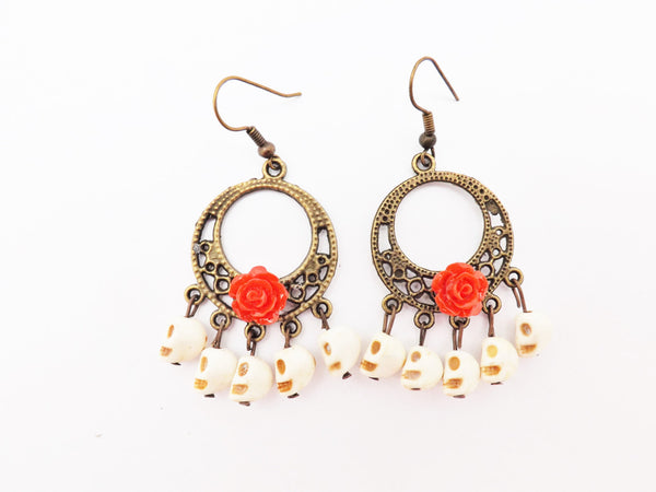 White Skull Gypsy Earrings