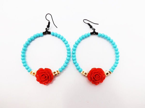 Teal Skull and Red Rose Loop Earrings