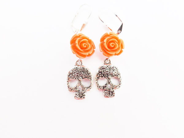 Etched Silver Skull and Rose Earrings