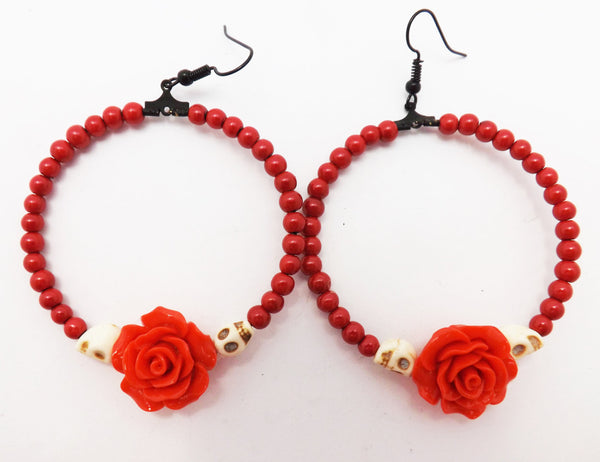 Red Rose and Skull Loop Earrings