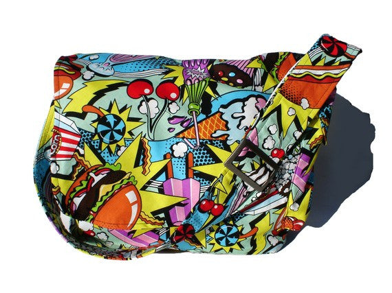 """What a Square"" Food Pop Art Messenger Bag"