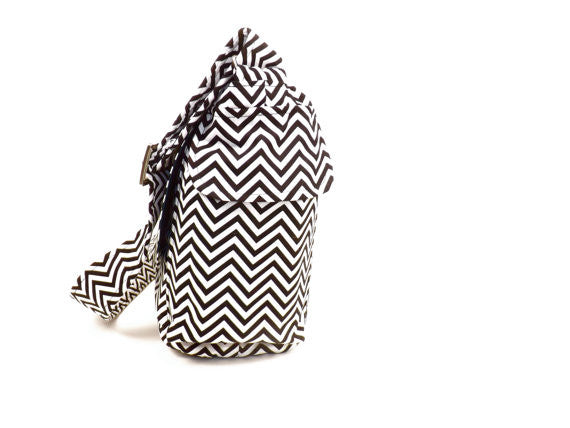 """What a Square""  Black Chevron Stripes Bag"