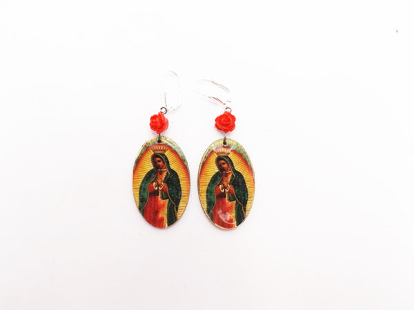 Guadalupe and Rose Wooden Earrings